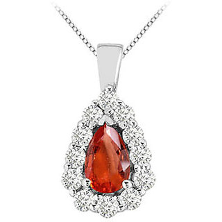 Gf Bangkok Ruby Pear Shape With Round Cz In 14K White Gold Pendant 3.75 Ct