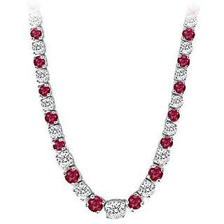 Graduated Created Ruby Cz Tennis Necklace In 14K White Gold 17.00.Ct.Tw