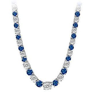 Graduated Created Sapphire Cz Tennis Necklace In 14K White Gold 17.00.Ct.Tw