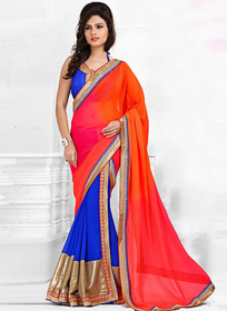 Ardhangini Sarees Blue & Pink Georgette Plain Saree With Blouse