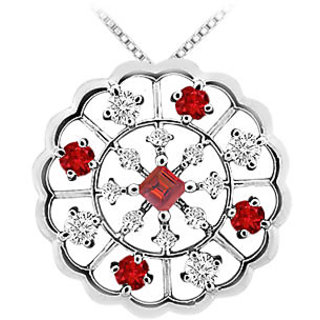 Ruby & Diamond Flower Pendant 14K White Gold-1.00 Ct