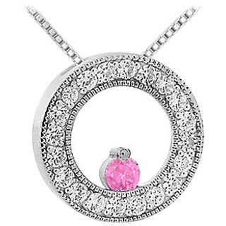 Pink Sapphire And Diamond Circle Pendant 14K White Gold-1.00 Ct