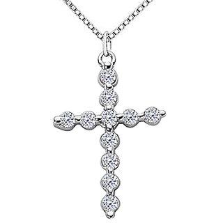 Religious 14K White Gold Cross Pendant Necklace With 0.55 Ct Diamonds