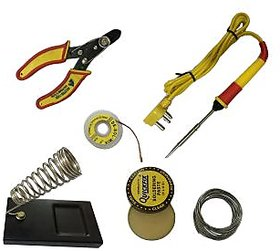 Techamazon 6 in1 Electric Soldering Iron Stand Tool Wire Stripper Kit 25W Welding Stick Set