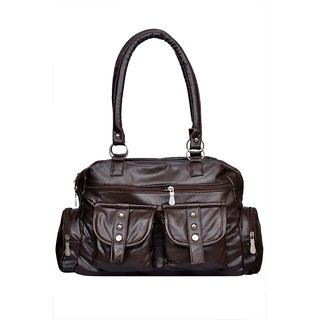 BROWN REXINE 4 POCKET BAG