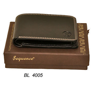 Sequence pure leather Wallet Credit Card Holder for MensBlack 4005