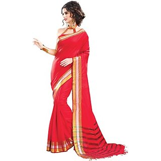 Sandra Red Embellished Party Wear Cotton Saree