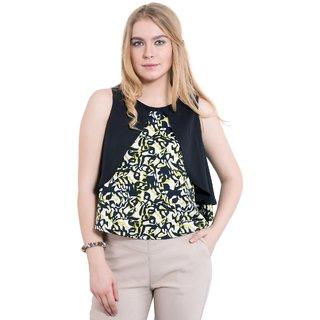 KASHANA Poly-Crepe Green Black Printed Sleeveless Women Ladies Summer Crop Top