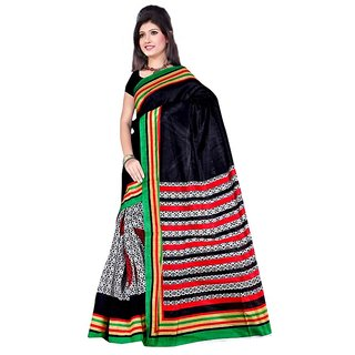 SVB Multicolor Cotton Block Print Saree With Blouse