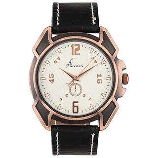 Jack Klein Stylish White Dial Black Leather Analog Watch For Men