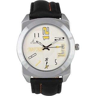 Jack Klein Stylish Dial Black Leather Strap Analog Watch