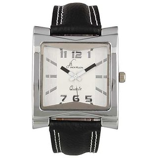 Jack Klein Rectengular Dial Black Strap Wrist Watch For Men