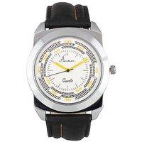 Jack Klein Stylish Round Dial Black Leather Wrist Watch For Men