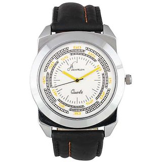 Jack Klein Stylish Round Dial Black Leather Wrist Watch For Men