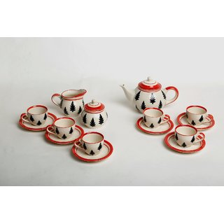 Caffeine Ceramic Handmade Christmas Tree Tea Kettle Set (15pc)