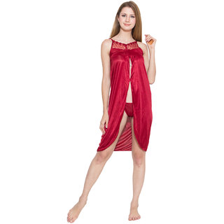 f1031770c1 Buy Love Bird Maroon Satin Short Nighty Hot Sexy LBN04 Online - Get ...
