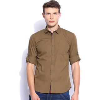 Zavlin khaki cotton casual shirt