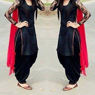 Black  Red Chiffon Plain Semi- Stitched Dress Material