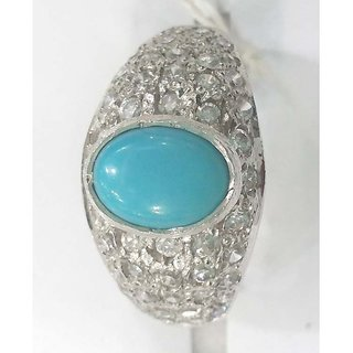 Gems studded Silver Rings with Turquoise and Zircon
