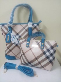 Blue Checkered Tote With Sling. Unique Looks