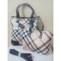 Black Color Checkered Handbag With Sling And Belt