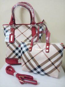 Red Checkered Handbag With Sling. Has A Belt Which Can