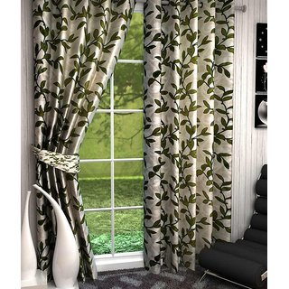 P Home Decor Polyester Door Curtains (Set of 2) 7 Feet x 4 Feet, Green