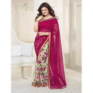 Thankar Wine Pink And White Printed Saree