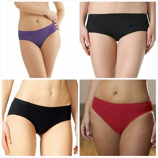 AT YOUR PLACE Multicolor Plain Cotton Lycra Panty (Colors & Design May Vary)