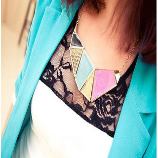 Shining Diva Fashion Geometric Blocks Statement-CFJ2360np