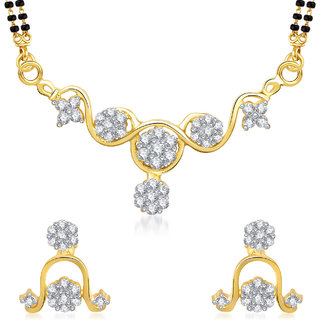Amaal Mangalsutra For Women Jewellery Set  Gold Plated Cz In American Diamond MSPT0140