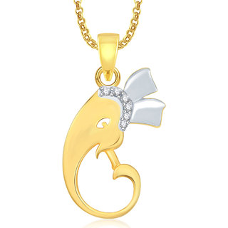 Amaal Ganesha Ganpati God Pendant With Chain For Men,Women Gold Plated In American Diamond Cz Jewellery GP0327