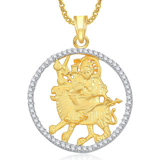 buy amaal maa durga pendant with chain for men women gold plated in
