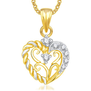 Meenaz Heart Pendant For Girls,Women With Chain -Ps433
