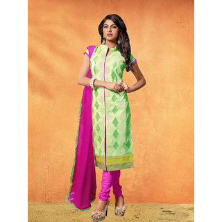 Multi Retail Green Embroidered Chanderi Semi Stitched Dress Material With Dupatta