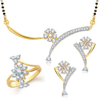 Meenaz Mangalsutra Jewellery Set Gold Plated - Com13414