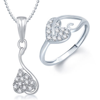 Meenaz Pendant Set Gold Plated Cz With American Diamond For Girls - Com18614