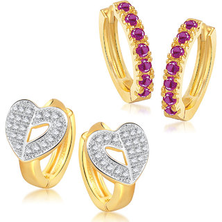 Meenaz Earrings Bali Set Fancy Gold And Silver Plated For Girls And Women In American Diamond