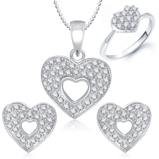 Meenaz Pendant Set Silver Plated Cz With American Diamond For Girls - Com23412