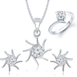Meenaz Pendant Set Silver Plated Cz With American Diamond For Girls - Com24116