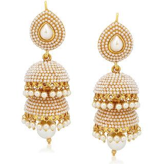 Meenaz Kundan Pearl Jhumka Earrings Traditional Ethnic Gold Plated Earings J142