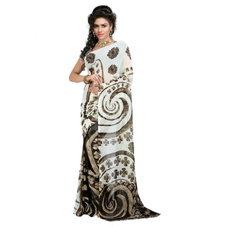 SuratTex White Georgette Printed Saree With Blouse