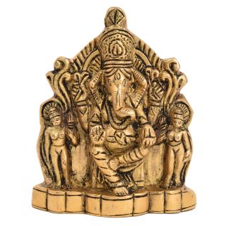 Bharat haat ganesh with wife riddhi siddhi wall hanging fine collectible art 5144