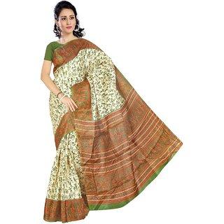 Grahakji Multicolor Art Silk Printed Saree With Blouse