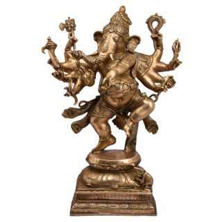 Bharat haat ganesh with ten hand and dancing pogision Religious item fine collectible and gift Decorative art 5170