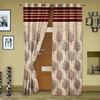 P Home Decor Jute Door Curtains (Set of 2) 7 Feet x 4 Feet
