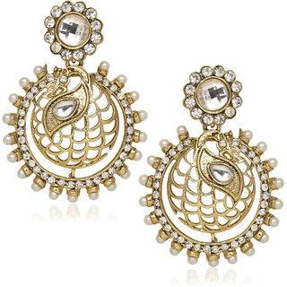Amaal Traditional Earrings Fancy Party Wear Kundan Moti Diamond Earrings For Women T0355