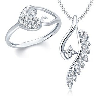 Amaal Pendant Set bo Silver Plated CZ With American Diamond For Girls  Women  Com011710