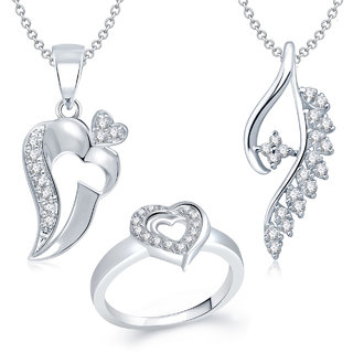 Amaal Pendant Set bo Silver Plated CZ With American Diamond For Girls  Women  Com012710