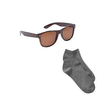 Fashno Combo Of 1 Brown Wayfarer And 1 Pair Of Socks